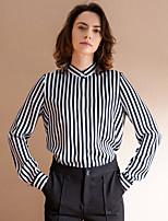Chemise Femme,Rayé Travail simple Automne Manches Longues Col Ras du Cou Noir Polyester Moyen