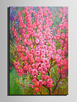Mini Size E-HOME Oil painting Modern Pink Flowers Full Of Trees Pure Hand Draw Frameless Decorative Painting