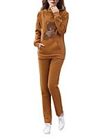Damen Tierfell-Druck Einfach / Aktiv Lässig/Alltäglich Set Hose Anzüge,Rundhalsausschnitt Herbst / Winter Langarm Gelb Baumwolle Dick