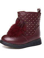 Girl's Boots Winter Comfort PU Dress Casual Flat Heel Others Black Red Burgundy Walking