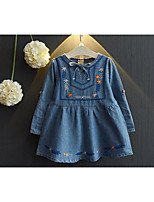 Girl's Casual/Daily Print DressCotton Spring / Fall Blue / White