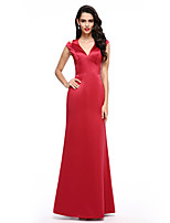 TS Couture® Formal Evening Dress A-line V-neck Floor-length Satin with Split Front