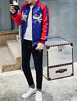 Men's Casual/Daily Simple Jackets,Animal Print Round Neck Long Sleeve Fall / Winter Blue / Red Cotton