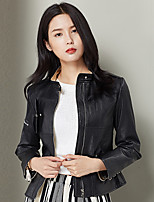 Xuebao Women's Casual/Daily Vintage Leather JacketsSolid Stand Long Sleeve Winter Black Others Medium