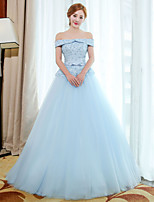 Formal Evening Dress Ball Gown Off-the-shoulder Floor-length Tulle with Embroidery / Lace