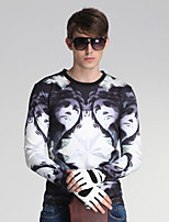 Men's Daily/Sports/Holiday Street chic Print White Round Neck Long Sleeve Cotton/Polyester All Seasons