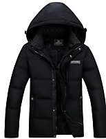 Men's Regular Down Coat,Simple Casual/Daily Solid-Polyester White Duck Down Long Sleeve Hooded Black