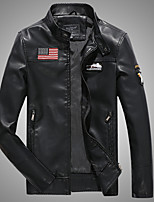 Мужчины На каждый день Однотонный Кожаные куртки Воротник-стойка,Винтаж Зима Черный / Коричневый Длинный рукав,Полиуретановая,Толстая