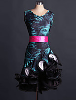 Latin Dance Dresses Performance Spandex Pattern/Print / Leopard 2 Pieces Sleeveless Natural Belt / Dress