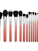 15 Makeup Brushes Set Synthetic Hair Professional / Portable Wood Eye / Lip Pink