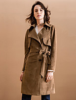 Women's Going out Vintage Trench Coat,Solid Notch Lapel Long Sleeve Winter Brown Polyester Medium