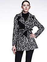 CARBAMMI  Women's Going out Street chic Trench CoatColor Block Notch Lapel Long Sleeve Fall Black Polyester Opaque