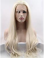 блондинка бесклеевой передние синтетические волосы парики шнурка естественный прямой синтетический парик для женщин моды