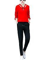 Set Pantalon Costumes Femme,Couleur Pleine Décontracté / Quotidien simple Automne Manches Longues Col en V Rouge / Noir Polyester Moyen