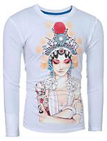 Herren Druck Retro / Einfach / Chinoiserie Ausgehen / Lässig/Alltäglich T-shirt,Rundhalsausschnitt Sommer / Herbst Langarm Weiß / Schwarz