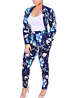 Women's Going out Street chic Spring / Fall Pant Suits,Floral Deep V Long Sleeve Blue Cotton / Polyester / Spandex Medium
