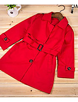 Girl's Casual/Daily Solid Trench CoatCotton Spring / Fall Red