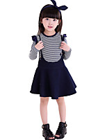 Girl's Casual/Daily Striped Dress / Jeans / Clothing SetCotton Spring / Fall Blue