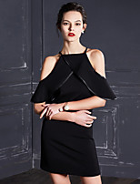 MASKED QUEEN Women's Going out Simple Sheath / Little Black DressSolid Halter Above Knee  Length Sleeve Black
