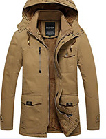 Men's Regular Padded Coat,Simple Casual/Daily Solid-Cotton Cotton Long Sleeve V Neck Black / Brown / Green