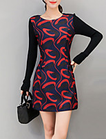 Women's Plus Size / Casual/Daily Street chic Sheath Dress,Color Block Round Neck Above Knee Long Sleeve Red / Black Rayon / PolyesterFall