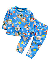 Boy's Casual/Daily Print Clothing Set / SleepwearCotton Spring / Fall Blue / Orange / Pink