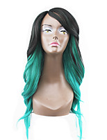 New Style Green Hair Lace Front Natural Wavy Synthetic Lace Wigs