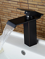 Contemporary Oil-rubbed Bronze Waterfall Bathroom Sink Faucets
