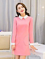 Women's Going out Cute A Line Dress,Patchwork Shirt Collar Above Knee Long Sleeve Blue / Pink / Yellow Polyester Fall Mid Rise Inelastic