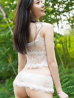 Women Lace Lingerie / Suits NightwearSexy Solid-Thin Lace / Mesh / Polyester White / Black Women's