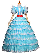 One-Piece/Dress Gothic Lolita / Sweet Lolita / Classic/Traditional Lolita / Punk Lolita Steampunk® Cosplay Lolita Dress Sky blue Floral