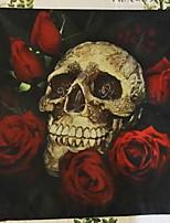Halloween Rose & Skull Head  Linen Decorative Throw Pillow Case Cushion Cover