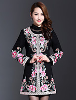 AINIER Women's Casual/Daily Chinoiserie CoatEmbroidered Round Neck Long Sleeve Fall Black Cotton / Polyester Thin