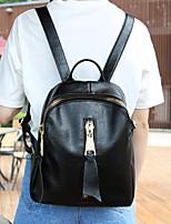 Women PU Casual Backpack Black