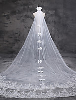 Wedding Veil One-tier Cathedral Veils Lace Applique Edge Tulle Lace