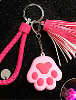 Shiny sound cat claw key chain cute ladies fringed key chain car ornaments