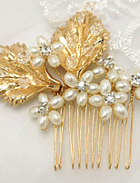 Bride's Leaves Imitation Pearl Wedding Hair Accessories Tiaras Hair Combs 1 Pieces