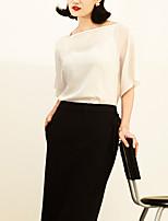 Tee-shirt Femme,Couleur Pleine Décontracté / Quotidien Vintage Eté ½ Manches Bateau Beige Autres Fin