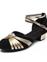 Na míru-Dámské-Taneční boty-Balet / Latina / Jazz / Step / Moderní / Salsa / Swing-Třpytky-Nízký podpatek-Černá / Červená / Zlatá