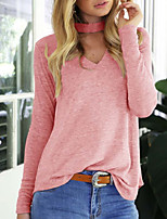 Women's Casual/Daily Sexy Regular Pullover,Solid Pink V Neck Long Sleeve Polyester Winter Medium Micro-elastic