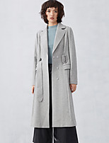 CARBAMMI  Women's Casual/Daily Simple CoatSolid Notch Lapel Long Sleeve Fall / Winter Gray Cotton / Polyester Opaque