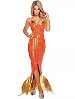 Costumes de Cosplay / Costume de Soirée Sirène / Conte de Fée Fête / Célébration Déguisement Halloween Orange Mosaïque Jupe / Robe