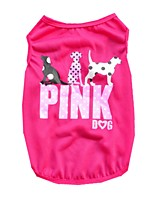 Cute Polyester Pink Dog Pattern Vest for Pets Summer Breathable Dog Clothes