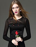 Tee-shirt Femme,Couleur Pleine Mosaïque Broderie Sortie Décontracté / Quotidien Travail Sexy simple Chic de Rue Printemps AutomneManches