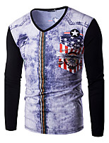 Men's Casual/Daily Simple Spring / Fall T-shirtPrint Round Neck Long Sleeve Black / Gray Cotton Medium