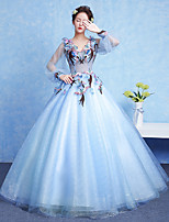 Formal Evening Dress Ball Gown V-neck Floor-length Tulle with Appliques / Flower(s)