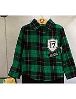 Boy's Casual/Daily Check ShirtCotton Spring / Fall Black / Green / Red
