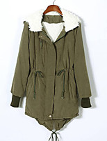 Women's Long Padded CoatStreet chic Casual/Daily Solid-Cotton Polypropylene Long Sleeve Hooded Black / Green