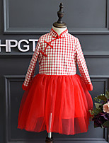 Girl's Casual/Daily Patchwork DressCotton / Rayon Spring / Fall Red