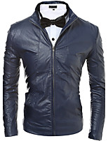 Men's Going out / Casual/Daily / Party/Cocktail Vintage / Simple / Street chic Leather Jackets,Solid Stand Long Sleeve Fall / WinterBlack